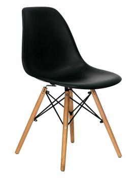 Стул «Eames белый/черный» с жестким сиденьем (деревянный каркас)