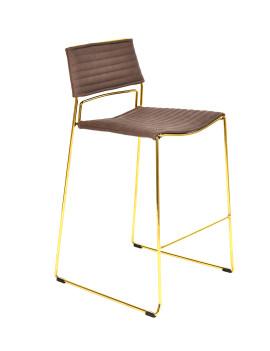 Стул «Джеймс» полубарный с мягким сиденьем (хромированный каркас)