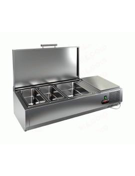 Витрина охлаждаемая настольная HICOLD VRTU 3 с крышкой к столу для пиццы PZE3-111/GN [284255]