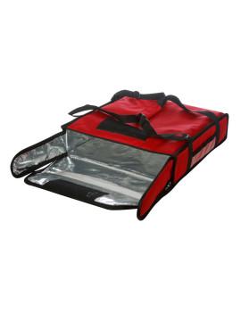 Термосумка на 2 пиццы 420х420х100 мм фольгированная большая красная без вентиляции