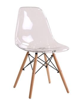 Стул «Eames Прозрачный» с жестким сиденьем (деревянный каркас)