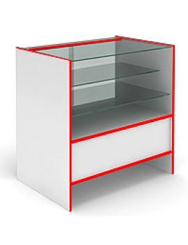 Прилавок остекленный, с раздвижными стеклянными дверцами S6090SD STEP (кромка красная)