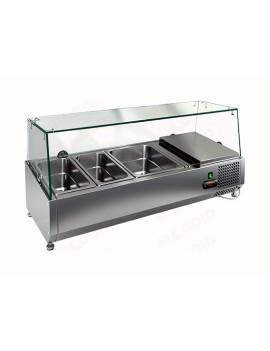 Витрина охлаждаемая настольная HICOLD VRTG 4 со стеклом к столу для пиццы PZ3-111/GN [284220]
