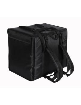 Терморюкзак 350х350х400 мм для пицц фольгированный чёрный с вентиляцией