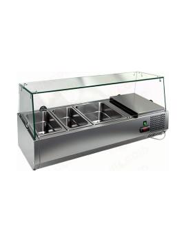 Витрина охлаждаемая настольная HICOLD VRTG 1 со стеклом к столу для пиццы PZE3-11/GN [284258]